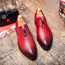 Thestron Men Red Formal Shoes Pointed Dress Male Luxury Brand Derby Casual Leather Summer Autumn Breathable New