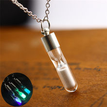 Trendy Time Crystal Frozen Wishing Drift Bottle Creative Luminous Hourglass Pendant Necklace For Women(China)