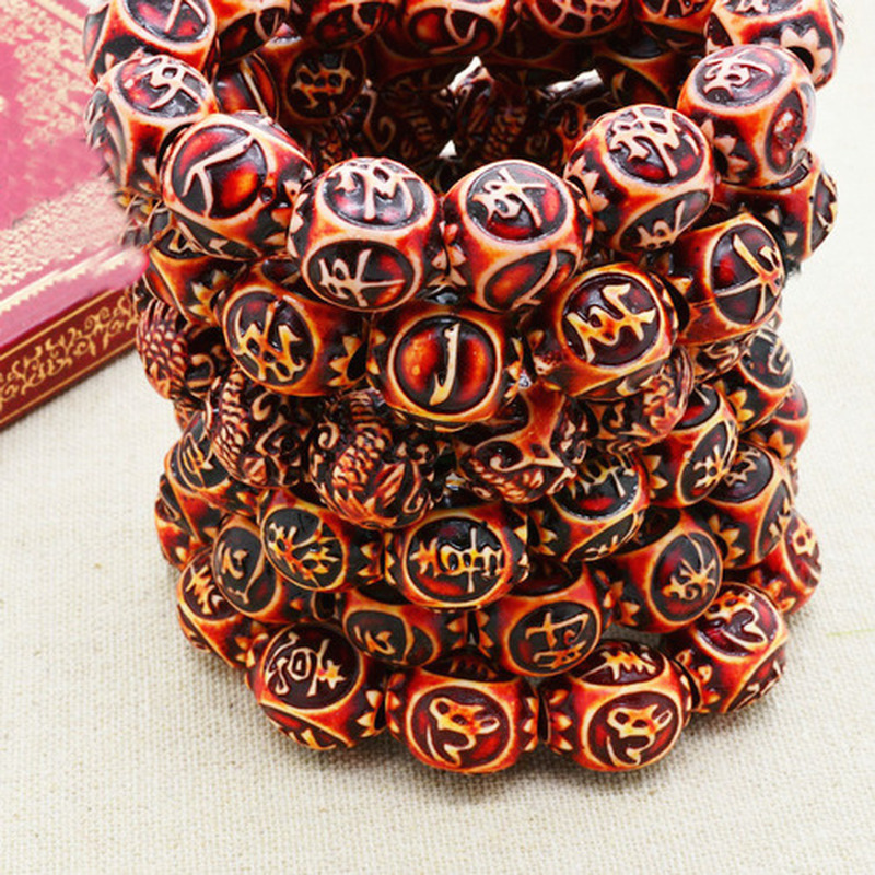 Gothic Religion Walnut Vajra Bodhi Bracelets Nepal Tibetan Prayer Bead Bracelets Resin Strand Bracelets for Women Men Jewelry