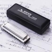 Harmonica chromatique 16 trous 64 sons Cl/é de Do en cuivre anodis/é Noir Swan