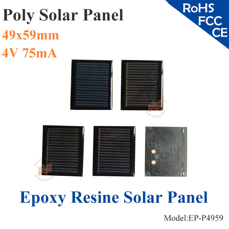 49X59mm 4V-75mA Poly Epoxy Resine encapsulated Solar Panel can be customized Small Power Mini Solar Panel for Toys, LED light