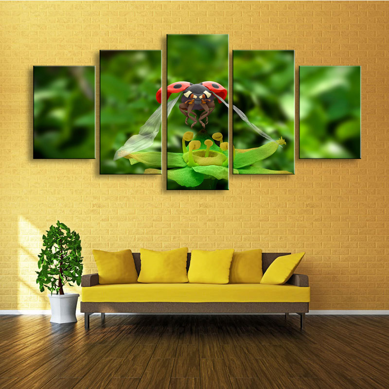5 pieces high definition print Insects ladybug canvas oil painting ...