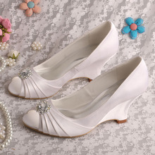 Wedopusสีขาวลิ่มส้นรองเท้าแต่งงานP Eep Toeปั๊มรองเท้าฤดูใบไม้ร่วงD Ropshipping