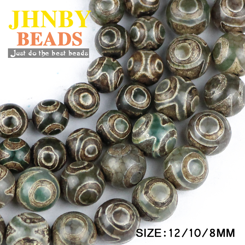 Prix pour JHNBY Chine Tibétain Dzi Yeux perles Vert Naturel cornaline Pierre 8/10/12 MM Rondes En Vrac perles pour fabrication de bijoux bracelet BRICOLAGE
