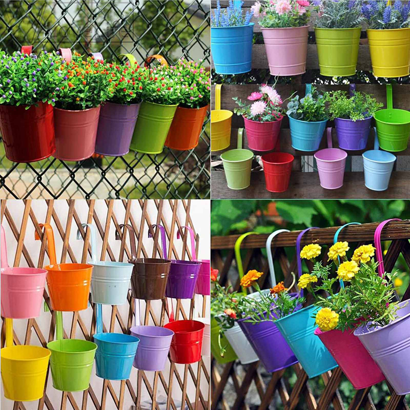 candy colors flower metal hanging pots garden balcony wall. Black Bedroom Furniture Sets. Home Design Ideas