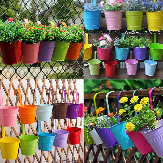Candy Colors Flower Metal Hanging Pots Garden Balcony Wall Vertical Hang Bucket Iron Holder Basket With