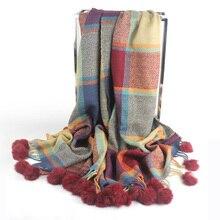צבעוני משובץ קשמיר צעיפי עם ארנב הפרווה פום פום נשים החורף עבה חם שמיכת צעיף צעיף עוטף bufanda חדש אופנה