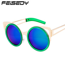 FEISEDY Fashion Retro Cat Eye Sunglasses Women Brand Designer Vintage Alloy Round Circle Sun Glasses Female Shades Gafas De Sol