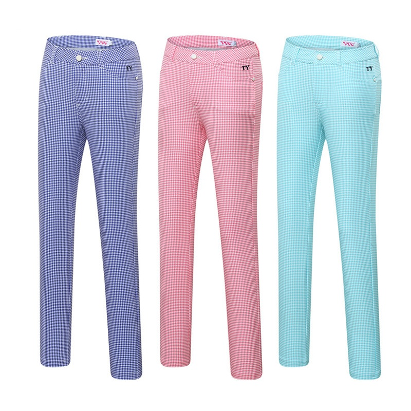 Trousers Clothing Golf-Clubs-Pants Women Tennis Training Plaid Slimming D0966 Sports