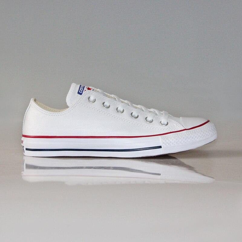 079be199cdac1 100% original Converse all star Chuck Taylor pu cuir toile chaussures  hommes femmes baskets bas classique skateboard chaussures 132174 dans  Planche à ...