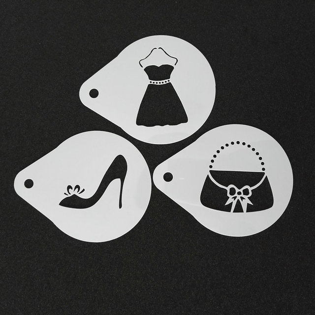 3pcs/set Wedding Latte Art Stencils