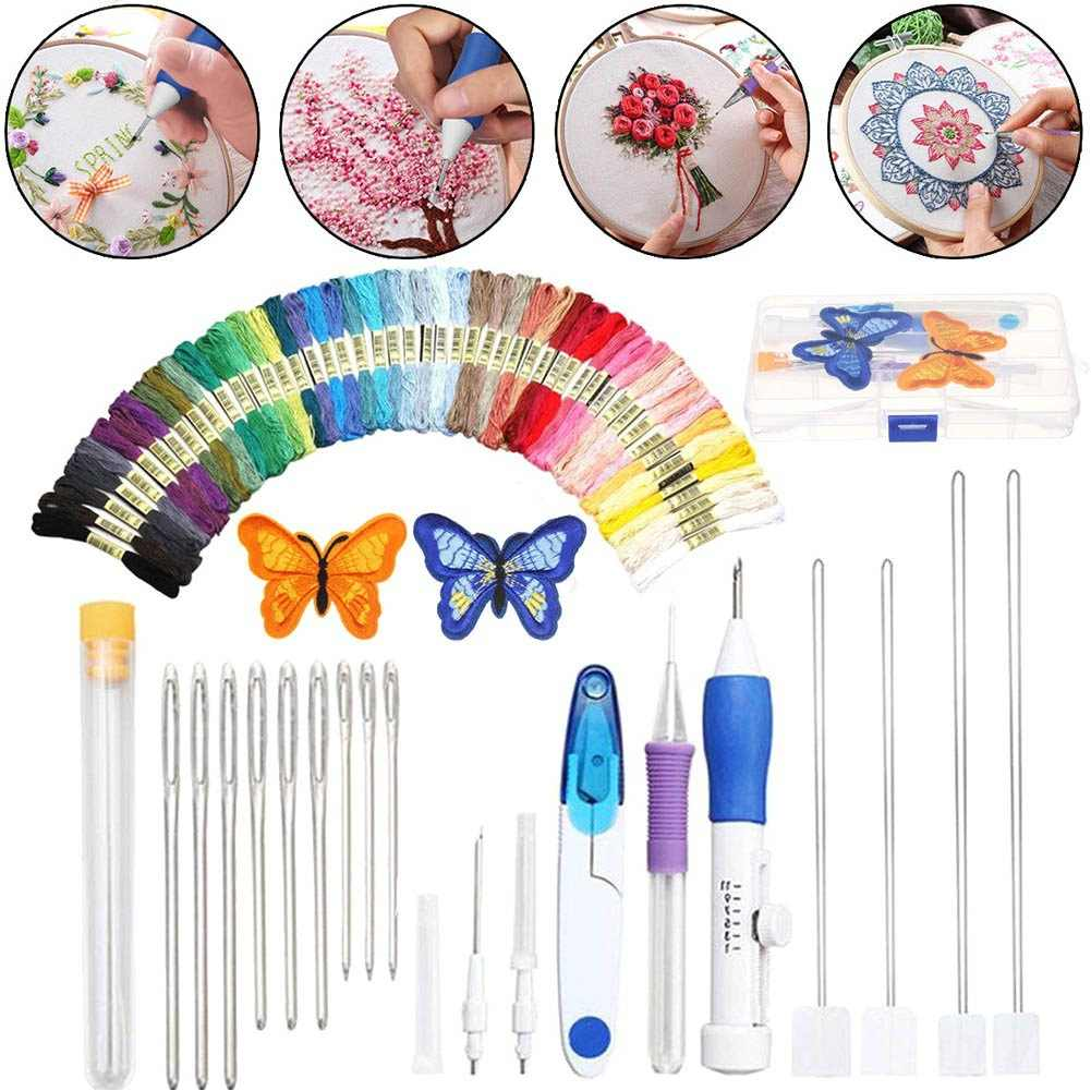 Magic Embroidery Pen Punch Needles & Patterns Craft Tool,Threads for DIY Sewing Accessories Cross Stitching&Knitting Sewing Tool