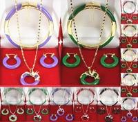 313 12color-green/tím/đỏ/màu đen đầy màu sắc bangle rồng mặt dây chuyền bông tai có thể chọn