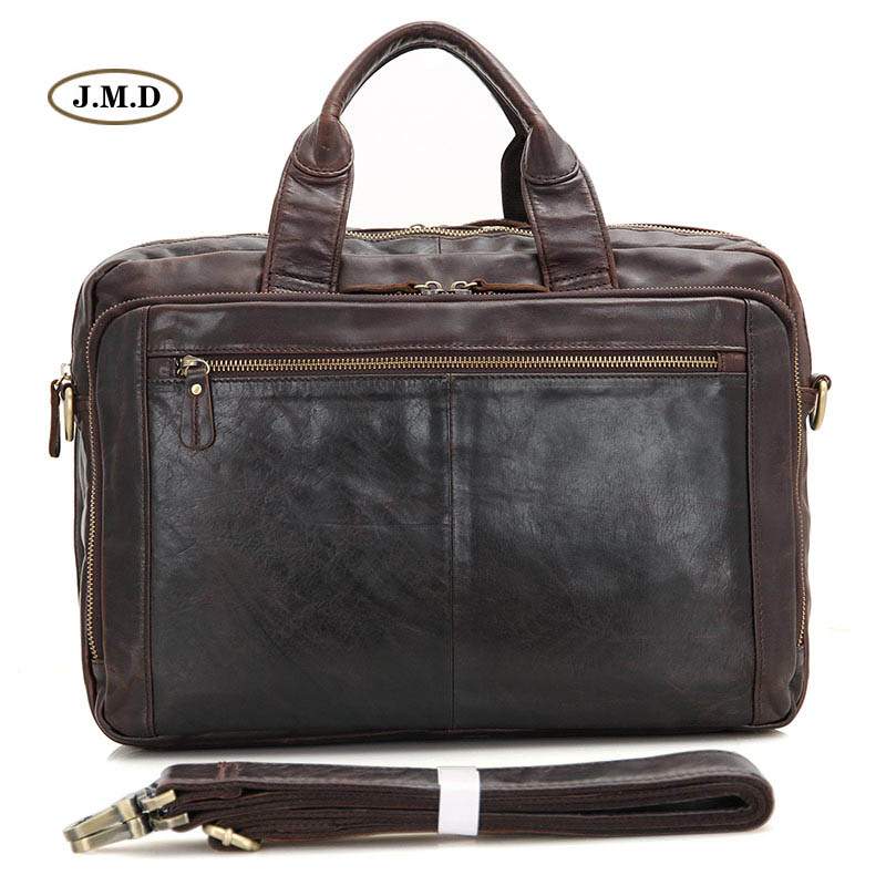 J.M.D 100% Genuine Cow Leather Briefcase Handbag Business Men Messenger Bag Pen Pocket Shoulder Bag Fit for 15.5 Laptop 7230Q