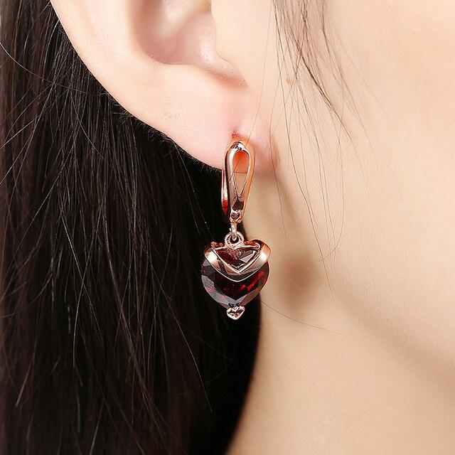 1 Pair Women Rose Gold Ear Stud Earring Heart Earrings Jewelry Small 94259