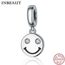 Buy smiley face charms and get free shipping on aliexpress inbeaut 100 real 925 sterling silver lovely happy aloadofball Image collections