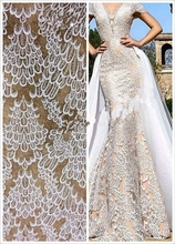High Quality African lace,white bridal Lace Fabric Wholesale price For lace Wedding dress evening 5 yard BC156