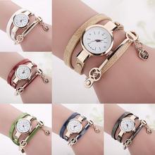 Повезло ангел кулон Для женщин Часы тонкий PU кожа обмотки браслет Наручные часы Montre Femme Обувь для девочек часы TT @ 88