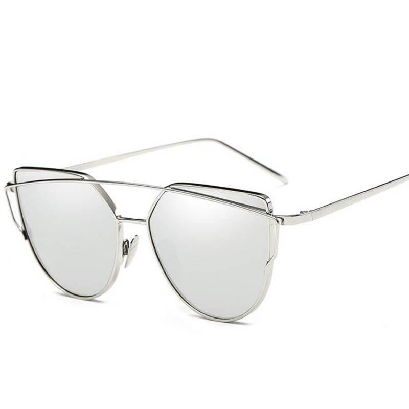2017 Brand Retro Cat Eye Sunglasses Women Vintage Fashion Rose Gold Mirror Eye Glasses Unique Flat Ladies Eyewear Oculos UV400 2