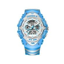HOSKA Top Brand Children's Quartz Digital Wristwatches 50M Waterproof Sports Diving Watch For Men Student Alarm Clock LED Watch