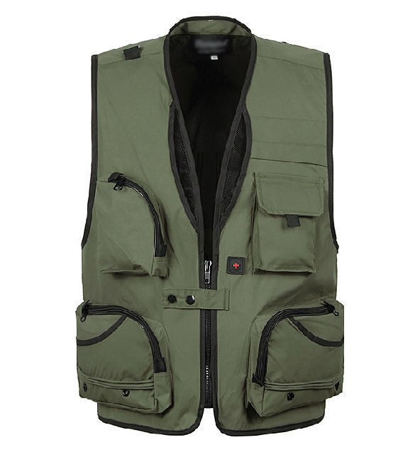 Xl-5Xl Men'S  Photography  Vest V-Neck Multi-Pocket Reporters Director Sleeveless Jacket Outwear A364