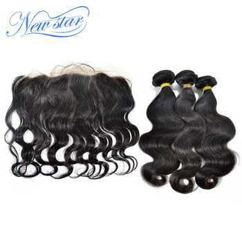 Brazilian Body Wave 3 Bundles Weft With A 13x4 Free Part Ear to Ear Pre Plucked Lace Frontal New Star Virgin Human Hair Weaving - DISCOUNT ITEM  55% OFF All Category