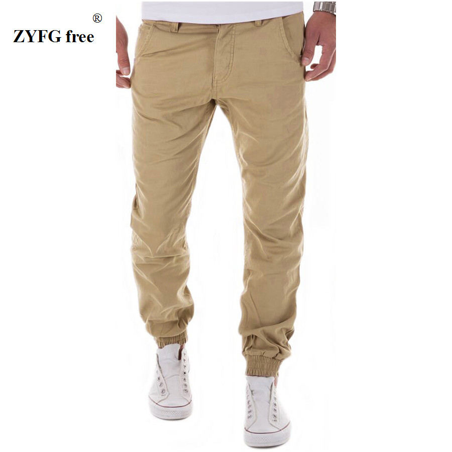 Mens Casual Pants Trousers Cotton 2017 New Summer autumn Free Style Men's Pure Color Leisure Foot Trousers Multicolor