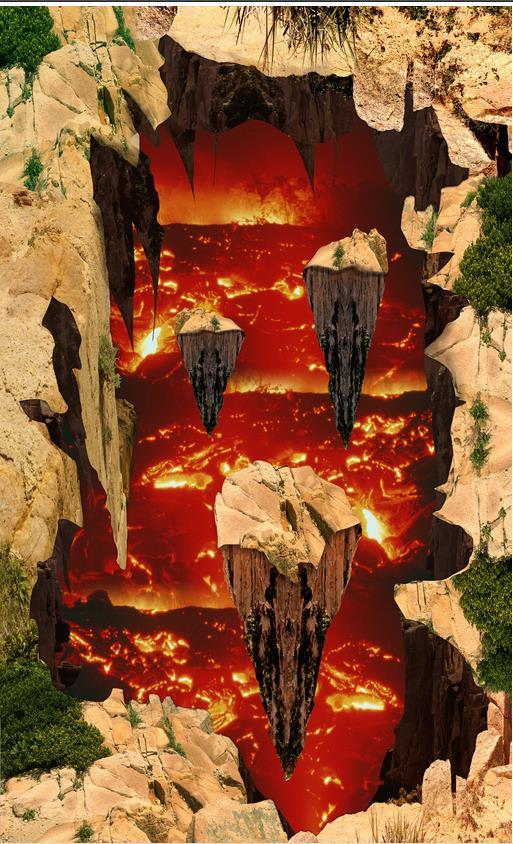 3D Floor Custom Photo Floor 3D Wallpaper Modern Art Volcanic Magma 3D Three-Dimensional Floor Painting Self-adhesive PVC custom photo self adhesive 3d floor 3d stereoscopic relief floor pvc waterproof floor 3d wall murals wallpaper floor