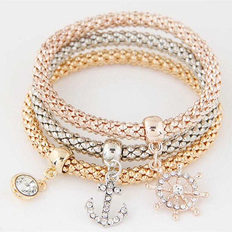 2018 Mixed color femme Anchor pendant Charm bracelet rhinestone Vintage Fashion multilayer cuff bracelets & bangles for Women