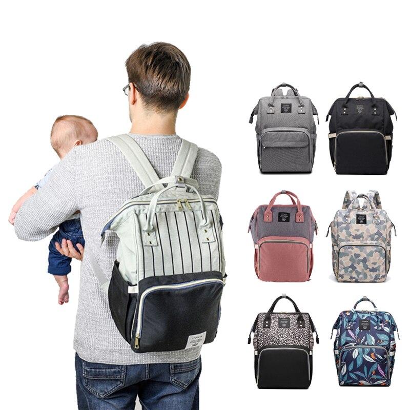 ¡Moda mamá maternidad bolsa de pañales de marca de gran capacidad bolsa de viaje mochila de diseño de enfermería para el cuidado del bebé!