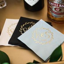 На заказ 25 шт. салфетки с монограммой для свадебного ужина, салфетки для напитков, персонализированные салфетки, свадебные сувениры в деревенском стиле