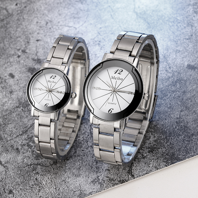 2018 New Luxury Silver Stainless Steel Couple Watch Quartz Analog Women Wrist Wa