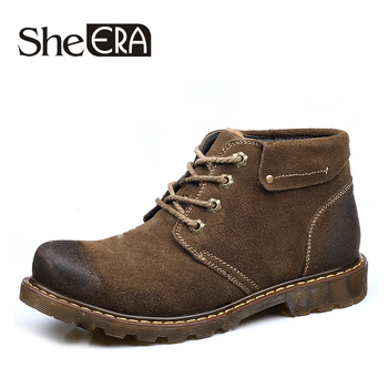 Men's High Top Autumn Winter Boots High Quality Genuine Leather Plus Velvet Warm Tooling Men Shoes Breathable Men Boots 38-44