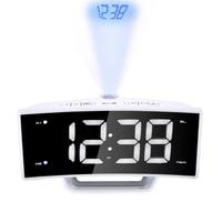 Fashion Arc Radio Projection Alarm Clock Large LED Mirror Display Electronic Digital Luminous Table Clocks USB