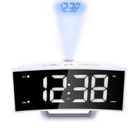 Fashion Arc Radio Projection Alarm Clock Large LED Mirror Display Electronic Digital Luminous Table Clocks USB