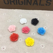 50pcs 19mm Resin Roses Flowers Embellishments For Cardmaking Scrapbooking DIY Flatbacks Cabochons Decorations 7 Colors