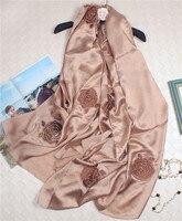 100% шелк гладкая атласная Женская мода выдалбливают вышивка роскошные шарф шаль пашмины 105x195 см Супер Большие размеры