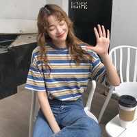 Coreano o-Cuello T camisa mujeres Harajuku rayas camiseta Tops 2019 verano Casual manga corta Punk camisetas camiseta femenina