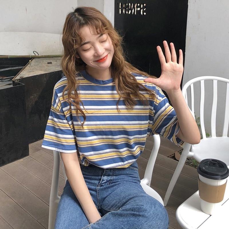Korean O-neck T Shirt Women Harajuku Striped Tshirt Tops 2019 Summer Loose Casual Short Sleeve Punk T-shirts Camiseta Feminina