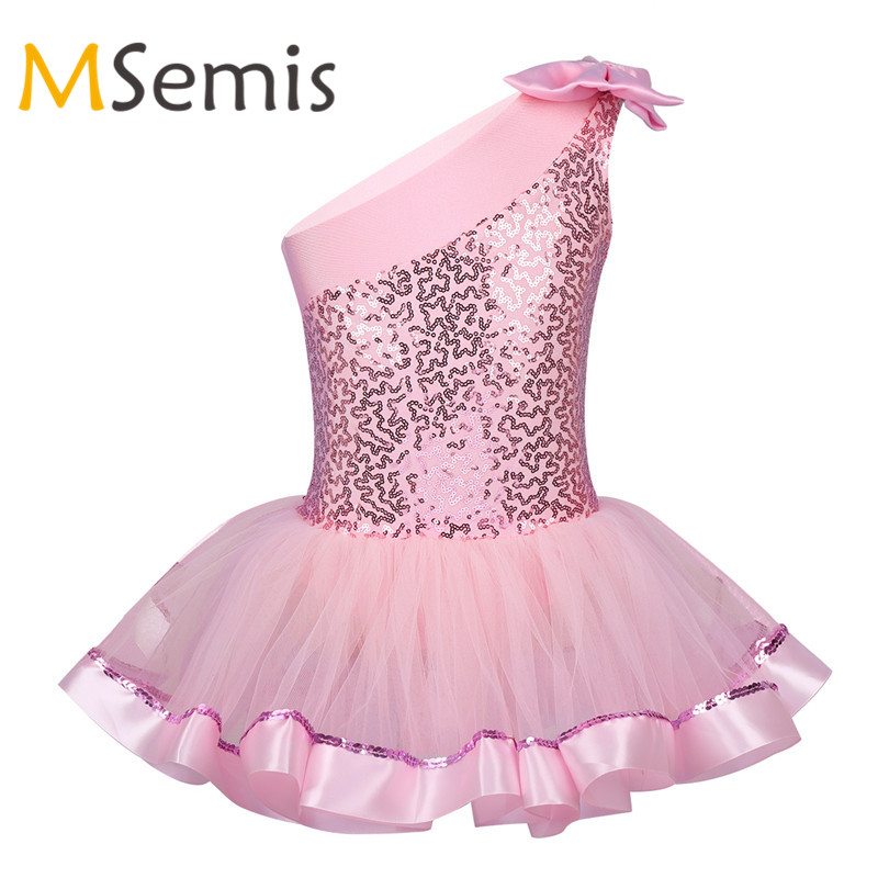 Girls Kids Shiny Gymnastics Ballet Dress Leotards Tutu Skirt Dancewear Costume