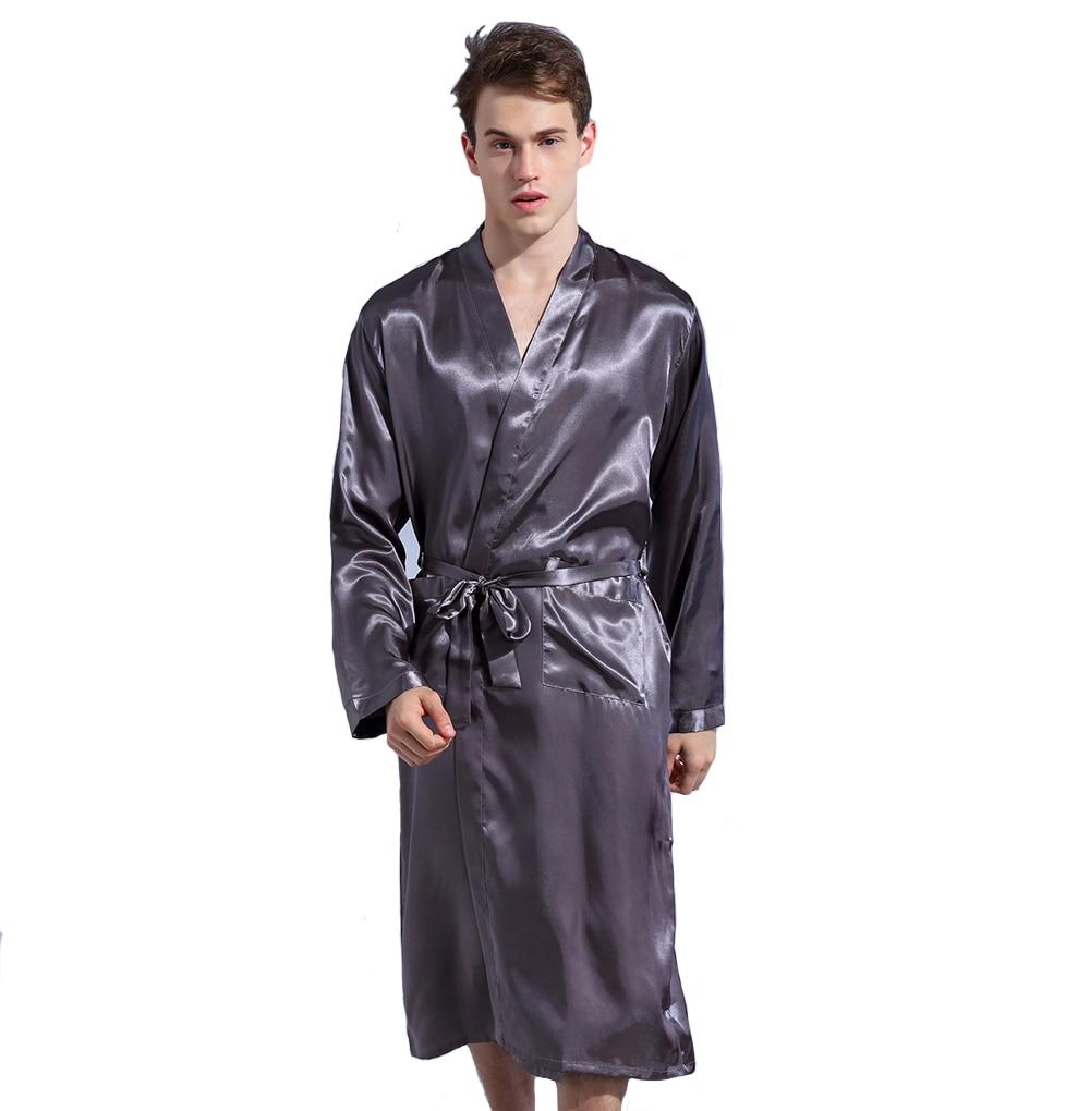 Gray Loose Leisure Men s Rayon Satin Robe Gown Solid Color Kimono Bathrobe  Casual Nightwear Sleepwear Pajamas S M L XL XXL 0d62ccd09