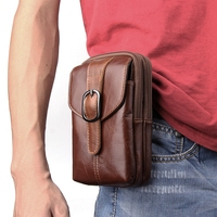6 3inch Men Leather Waist Belt Double Zipper Wallet Cell Mobile Phone Pocket Cigarette Key Case