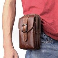 6 3inch Men Leather Waist Belt Double Zipper Wallet Cell Mobile Phone Pocket Cigarette Key Case