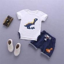 Pudcoco Summer Toddler Clothing Boys Baby Clothes Set Dinosaur Cartoon T-Shirt Shorts Kids Clothes Boys 2Pcs Sets 0-4Years цена