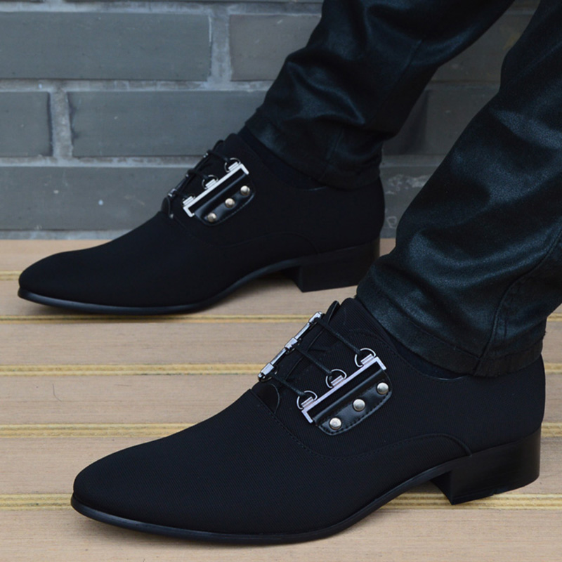 New Men Leather Shoes Breathable Lace Up Business Men Shoes High Quality Black Korea Pointed Toe Dress Shoes Flat Wedding Shoes new arrival pointed toe men wedding shoes men s lace up breathable business casual shoes fashion man hairstylist shoes size38 44