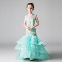 Роскошные Русалка для девочек в цветочек платья для свадьбы Larered шлейфом стенд воротник китайский Стиль дети Праздничное платье для дня рож