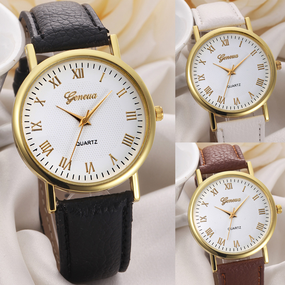 Watch Geneva Style Solar Light Change Color White Fashion Quartz Women Wristwatch Analog Vintage Clock Relogio Feminino @F