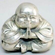 Старая тибетская серебряная статуя маленького смеющегося Будды
