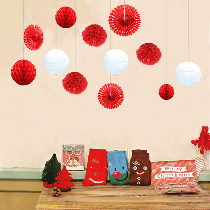 12pcs Wedding Birthday Party Paper DIY Decor Set Pink/Blue/Red/Green Paper Lantern Honeycomb Ball PomPom Flower Tassel Garland