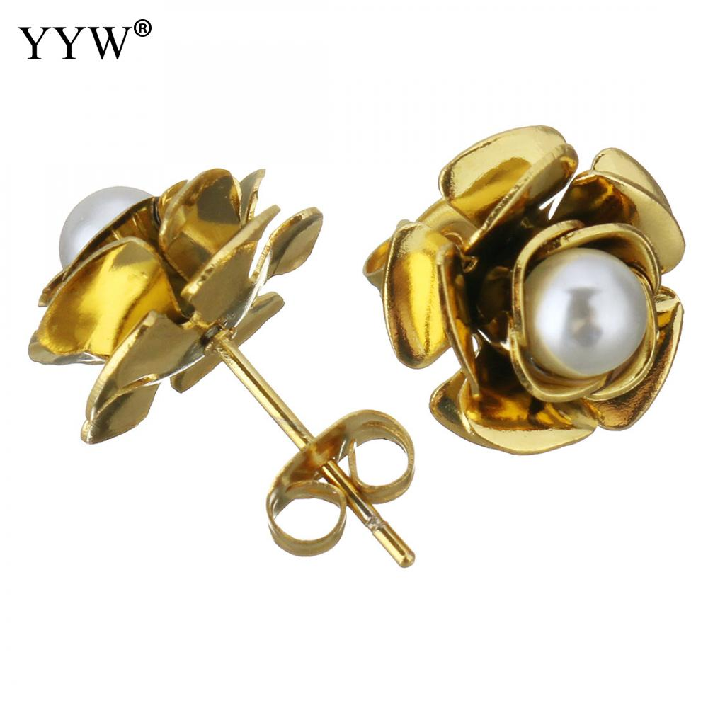 12pairs/Lot Stainless Steel Stud Earring with Glass Pearl Flower Gold Color Plated for Woman Party Gifts Pendientes Mujer Moda